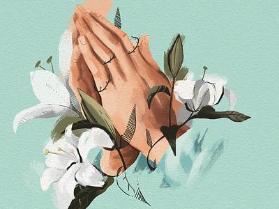Praying Hands card flowers illustration