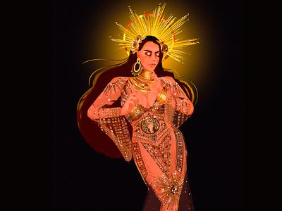 Goddess fashion crown goddess fashion illustration character design illustration