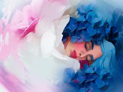 Sweet Dreams sleeping beauty dream hydrangea girl beauty flowers illustration