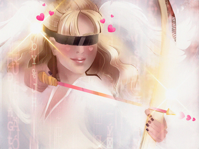 Digital Cupid algorithms hearts archer love cupid digital illustration