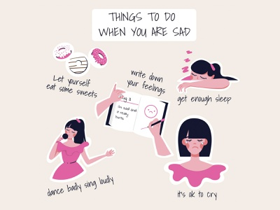 Things to do when you are sad checklist illustration