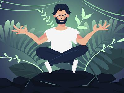 Meditation calm yoga meditation illustration