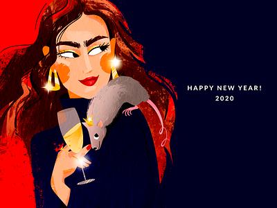 Happy new year 2020 new year card fashion illustration rat celebration fashion character design illustration