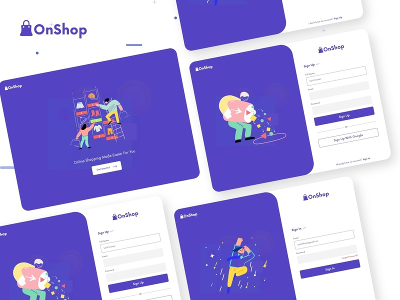 OnShop-Web  Sign In & Sign Up Design ux vector branding websight clean app landing illustration landingpage uiuxdesign clean uidesign