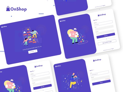 OnShop-Sign In & Sign Up Design ux vector branding websight clean app landing illustration landingpage uiuxdesign clean uidesign