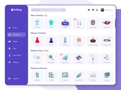 OnShop-Categories Page Design design clean websight clean app landing uidesign uiuxdesign landingpage website dashboard popular trend dribbble dribbble best shot 2020 trend