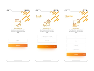 VirtualBank-Login & Register bank virtual clean mobile app web ux ui design landingpage uiuxdesign uidesign