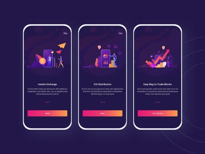 BitEx-Onboarding Screen mobile android ios mobileui typography ux clean design blue bitcoin cryptocurrency onboarding vector uiuxdesign illustration ui