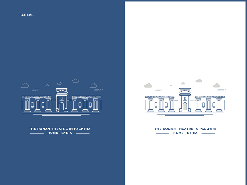 Outline l The Roman Theater in Palmyra illistration outline outline icons outline logo outline illustration outline icon out line design icon illustrator vector illustration