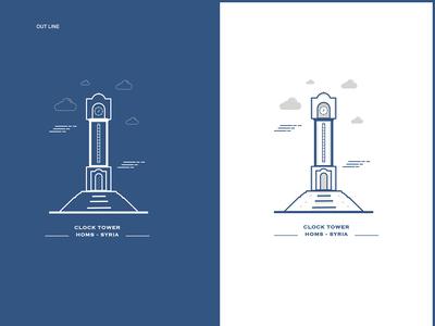 Outline | Homs Clock Tower landmarks illistrator illistration outline icons outline logo outline illustration outline outline icon out line logo illustrator icon vector illustration