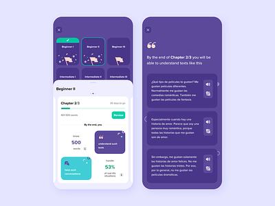 Speakly - Learning journey goal milestone award gamification digital interface design user interface language app app design education learning languages language learning app design ux design ui design ui