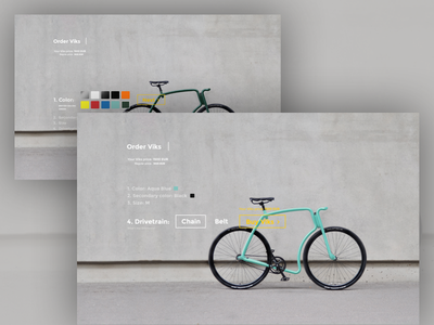 Viks - customization process interaction web colors custom ux ui buy order viks bike