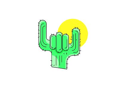 Heavy Cactus desert lines random illustration