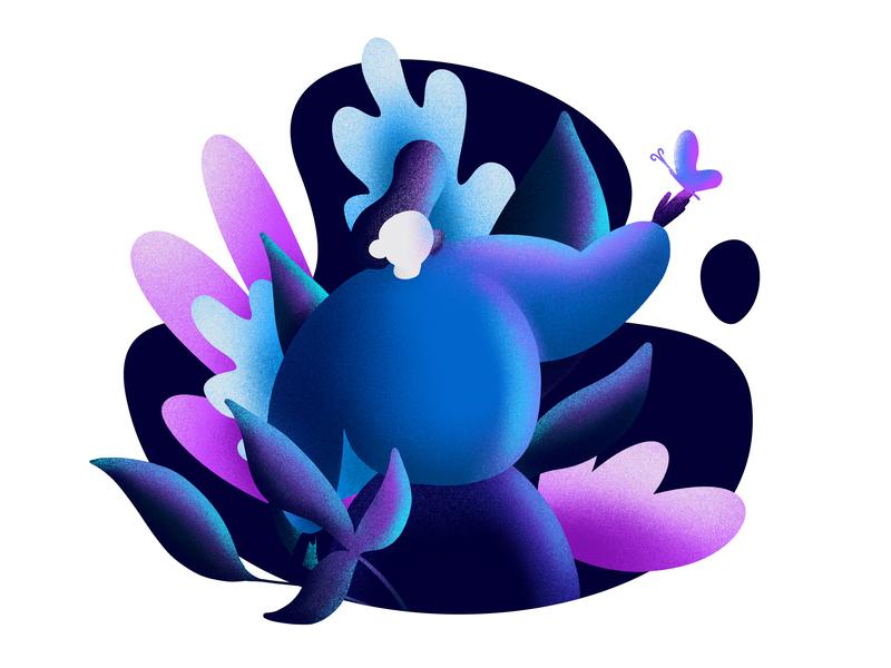 Fantasy Boy 🌿 neon woods plants mystical fantasy boy illustration illo flat character design character
