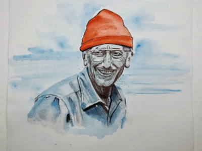Жак Ив Кусто portrait sketch illustration