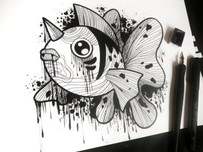 Pokemon 🖤 Dark Seaking 💦 sketch illustration pokemon