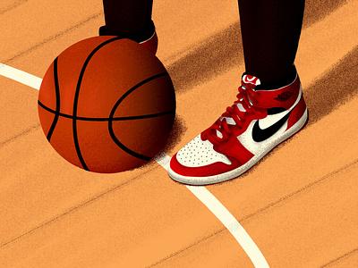 The Last Dance editorialillustration sportillustration sport air jordan basketball court basketball colorful artwork vector digital illustration