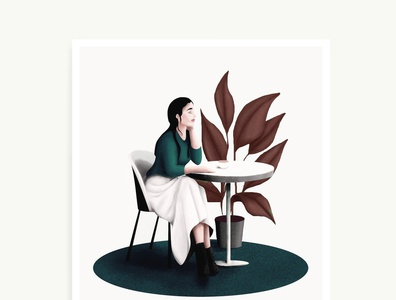 Lounge light plants womanillustration dots simple texture illustration art illustration illustrator lounge chair lounge
