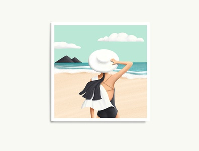 Beach day mockup posters editorial illustration vacation summer vibes beach illustration beach texture simple illustration art summer illustrator colorful design artwork digital illustration