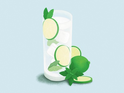 Mojito time! drink cocktail illustrator colorful artwork digital illustration