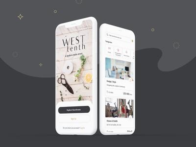 West Tenth - iOS App animations modern services online buyer storefront women community ideation minimalist creative design branding ux ui app ios