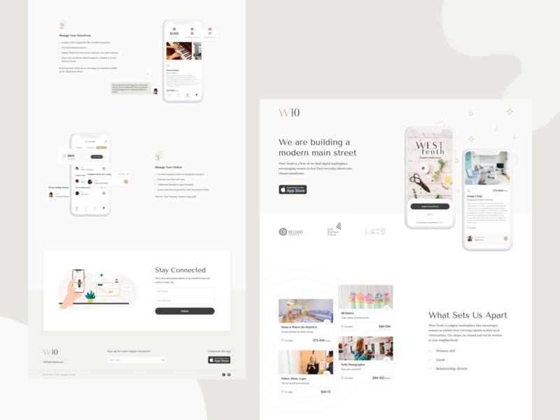 West Tenth - Marketing Website modern services online buyer storefront women community ideation minimalist creative design branding marketing app layout ux ui web website