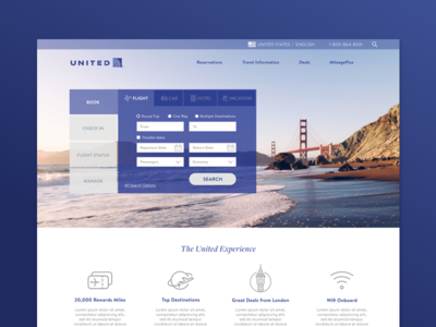 United Redesign tabs ui ux planning trip vacation book flight airline airlines united redesign