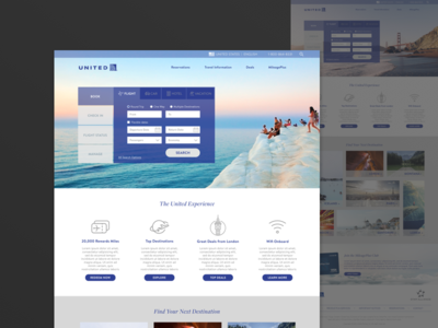 United Redesign - Full View flight planner trip vacation tabs app website redesign airline airlines united