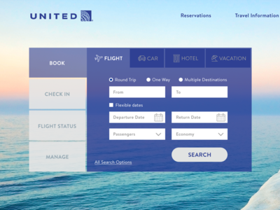 United Redesign - Close Up tabs ux ui website plan vacation book flight airline united redesign