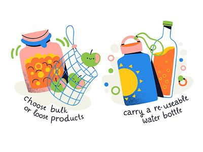 Plastic free july icon illustration web illustration digital illustration water bottle abstract procreate creative colorful flat illustration plastic plasticfree
