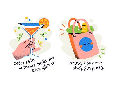 Reduce single-use plastic jillipp party digital illustration healthy reuse shopping bag balloons plastic free plastic abstract procreate creative flat colorful illustration