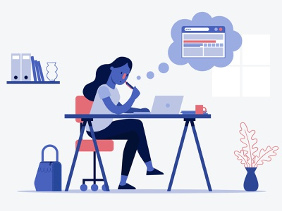 Styleframe of explainer video for Red Bull styleframe blue woman creative idea office character motion design explainer red bull vector flat flat design illustration