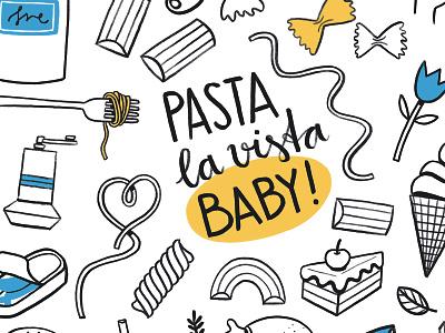 Pasta La Vista handlettering digital procreate app pastal painting illustration