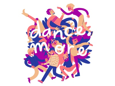 Dance More weekend dance party disco happy yellow photoshop ipad pro dance more dancing dance character cartoon comic painting design procreate colorful blue flat illustration