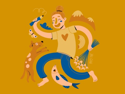 Selfportrait creative character cartoon comic colorful blue flat drawing mountain noodles doglover flatillustration procreate digitalpainting painting illustration selfportrait limitedpalette 6hexcodes