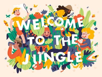 Welcome to the jungle digital illustrations explorer forest nature jungle ipad pro digital illustration digital 2d painting cartoon comic character procreate colorful flat illustration