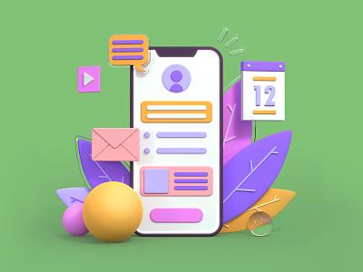 Smartphone 3D illustration geometric abstract blender3d blender webdesig uiux userinterface smartphone 3d illustration 3d design ui colorful flat illustration