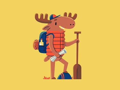 Adventurer moose digital art yellow digitalillustration digital procreate flatdesign flat illustration backpack canoe adventurer adventure moose animal illustration animal cartoon character characterdesign cartoon colorful flat illustration