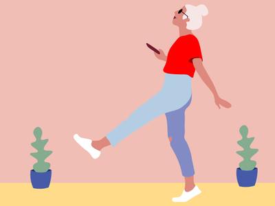 walking girl walk fun vector illustrator girl illustration woman pastel colors pink hair illustration
