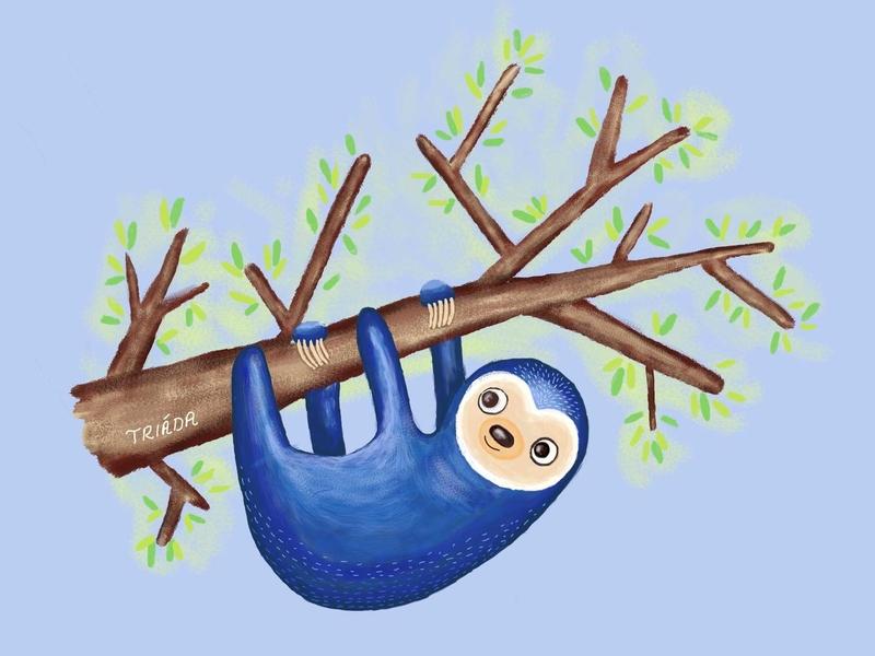 Blue Sloth cute animal browns childrens illustration kids illustration happy wildlife nature summer green leaves trees sloths sloth design blue illustration