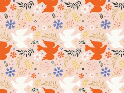 Folk Bird Pattern happy flower romantic folk pastel color green red blue pink nature carnation leaves branch freedom peace pigeon bird vector pattern design illustration