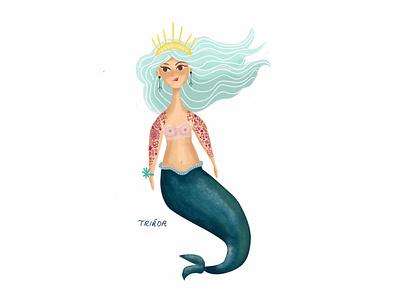 Tattooed Mermaid fairytale seaworld girl woman cute sea summer blue tattoos mermaid illustration
