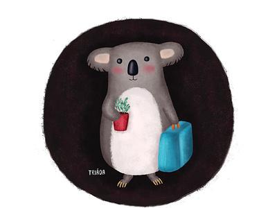 Koala childrens illustration drawing travelling travel turqoise red blue grey cute animal wildlife koala nature cute illustration
