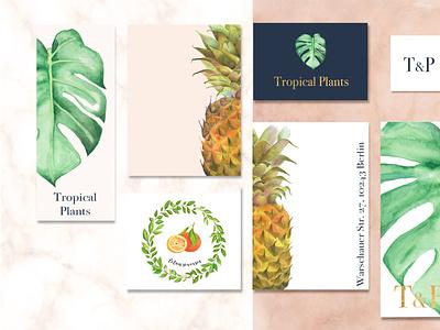Tropical Plants logo lettering logo handmade fruits color pencils lettering design illustration typography food illustration