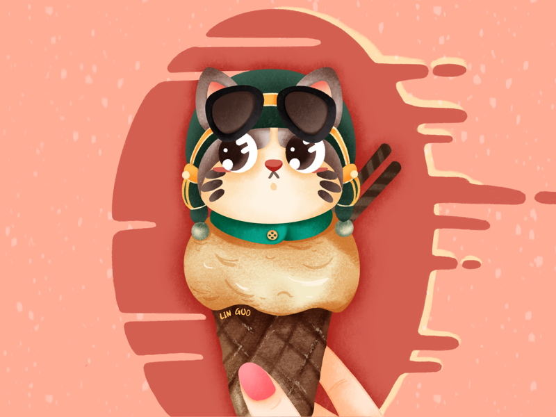 Cat In Ice Cream By Lin Guo On Dribbble
