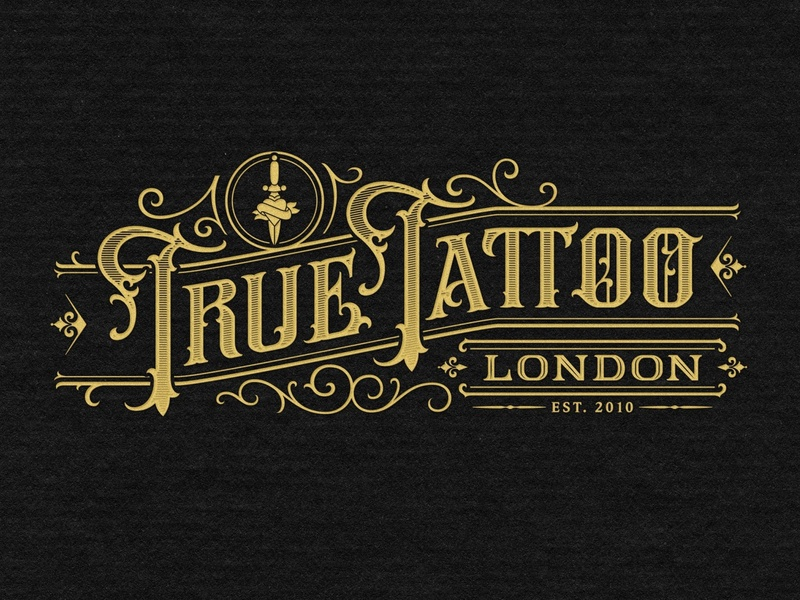 True Tattoo London tattoo customtype branding handlettering vintage logotype hand lettering type logo calligraphy lettering typography