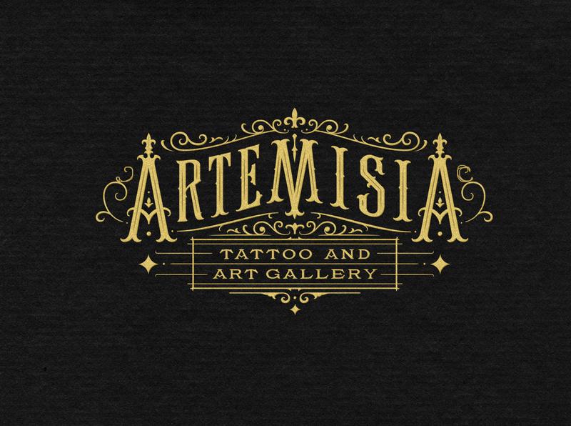 Artemisia Tattoo branding handlettering vintage logotype hand lettering type logo calligraphy lettering typography