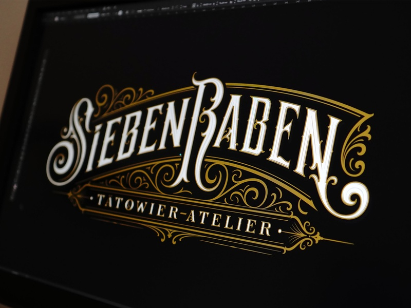 Sieben Raben Tattoo branding handlettering vintage logotype hand lettering type logo calligraphy lettering typography