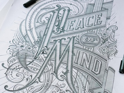 Peace of Mind custom lettering handlettering vintage logotype hand lettering type logo calligraphy lettering typography