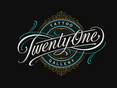 21 TATTOO GALLERY branding handlettering vintage logotype hand lettering type logo calligraphy lettering typography